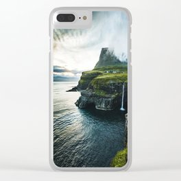 waterfall at faroe Clear iPhone Case