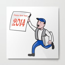 New Year 2014 Newspaper Boy Showing Sign Cartoon Metal Print