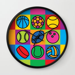 Sport Ball Pop Art Wall Clock