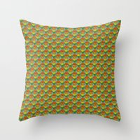 vegetarian Throw Pillows featuring burger vegetarian and french fries by fmppstudio