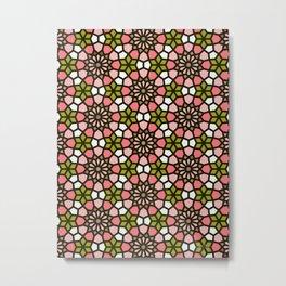 Persian Mosaic – Pink & Sage Palette Metal Print