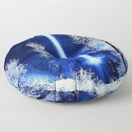 winter rock falls frost snow trees dark cold color Floor Pillow