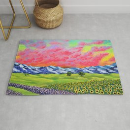 Sunflowers and Lavender In Provence France by Mike Kraus - french mediterranean nature cote d'azur Rug
