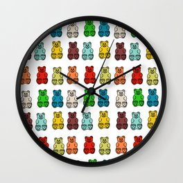 Cute Gummy Bear Candy Collage Wall Clock