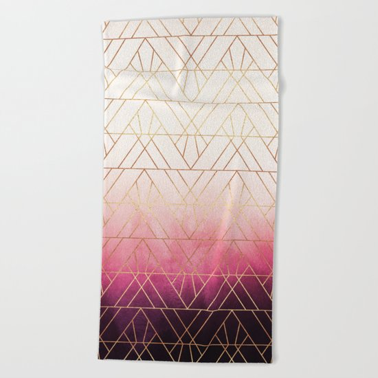 Pink Ombre Triangles Beach Towel