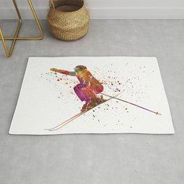 Woman skier skiing jumping 03 in watercolor Rug