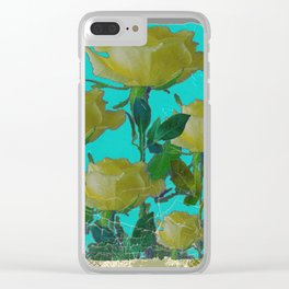 SHABBY CHIC TURQUOISE ANTIQUE IVORY YELLOW ROSE GARDEN Clear iPhone Case