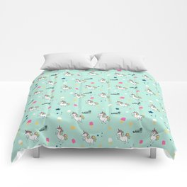 world of unicorns and ice cream Comforters