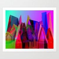 prismatc village full of colors Art Print