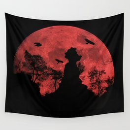 Red moon rock Wall Tapestry