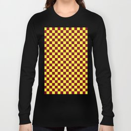 Electric Yellow and Burgundy Red Checkerboard Long Sleeve T-shirt