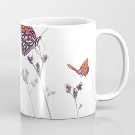 Gulf Fritillary butterflies in a meadow on white background Coffee Mug