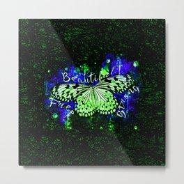 butterfly beautiful strong free splatter watercolor blue green Metal Print