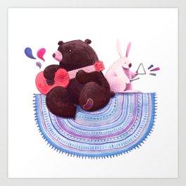 Bear & Bunny Art Print