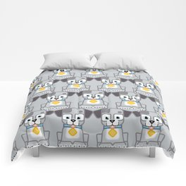 Super cute animals - Cute Grey Silver Puppy Dog Comforters