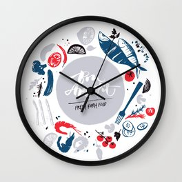 Fresh farm food poster Wall Clock