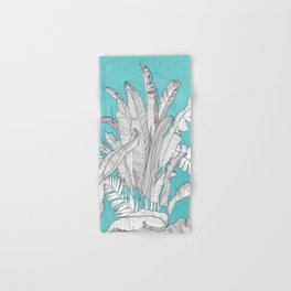 Banana Leaves Illustration - Blue Hand & Bath Towel