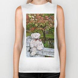 Teddy bear by the pond in autumn Biker Tank
