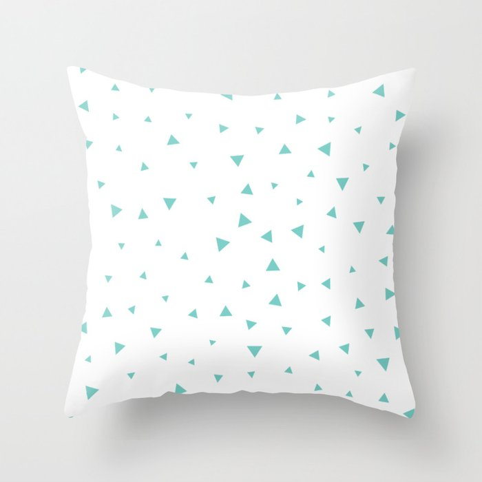 Tiffany Blue Triangle Pattern Throw Pillow