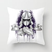ninja turtle Throw Pillows featuring Shredder -Teenage Mutant Ninja Turtle by Roe Mesquita