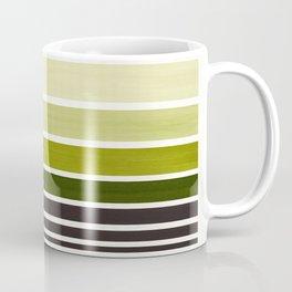 Olive Green Minimalist Watercolor Mid Century Staggered Stripes Rothko Color Block Geometric Art Coffee Mug