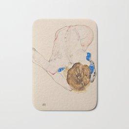"Egon Schiele ""Nude with Blue Stockings, Bending Forward"" Bath Mat"