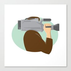 cameraman movie video camera side retro Canvas Print