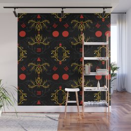 gold and red pattern Wall Mural