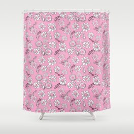 Pretty Pastel Cranberry and Pink Koi Fish on Pink Background Shower Curtain
