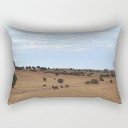Landscape & Horses Rectangular Pillow