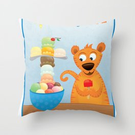 Brighter Side of Life. Ice Cream! Throw Pillow
