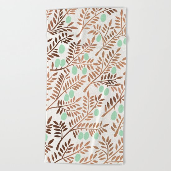 Olive Branches – Rose Gold & Mint Beach Towel