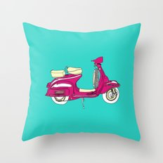 Scooter III // Vespa Throw Pillow