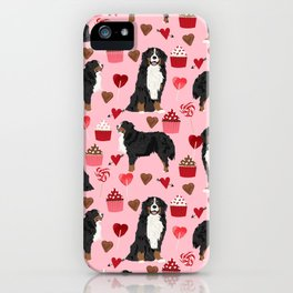 Bernese Mountain Dog custom valentines day gift for dog lover pet art love dogs iPhone Case