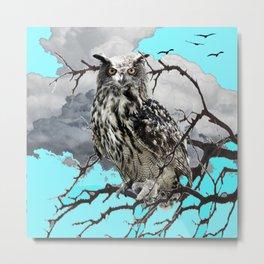 WILDERNESS OWL IN TREE &  BLUE  SKIES Metal Print