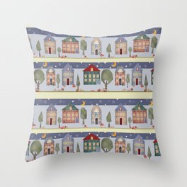Kids patchwork seamless pattern with houses and trees Throw Pillow