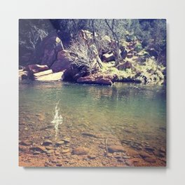 Rock Skipping Metal Print