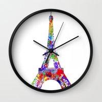 eiffel tower Wall Clocks featuring Eiffel Tower  by ron ashkenazi