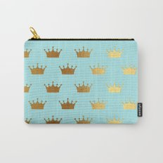 Gold Glitter effect crowns on aqua - Heraldy Pattern for Princesses on #Society6 Carry-All Pouch