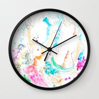 mermaids Wall Clocks featuring Mermaids  by Julie Lehite