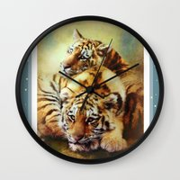 tigers Wall Clocks featuring Little Tigers by Trudi Simmonds