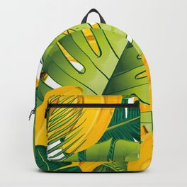 Tropical leaves decor bananas print forest interior palm Backpack