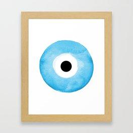 Watercolor Evil Eye Framed Art Print