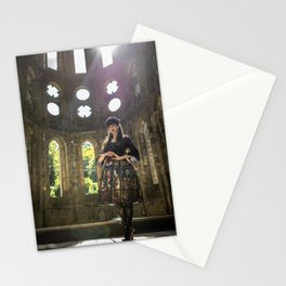 Gothic Lolita in sunny old abbey ruins Stationery Cards