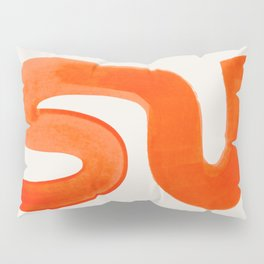Mid Century Modern Abstract Minimalist Abstract Vintage Retro Orange Watercolor Brush Strokes Pillow Sham