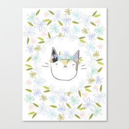 Calico Cat with a Flower Crown Canvas Print