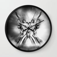 angels Wall Clocks featuring Angels by haroulita