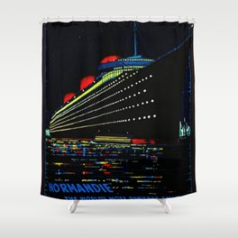Vintage 1949 Normandie France Cruise Ship Line Lithograph Wall Art Shower Curtain