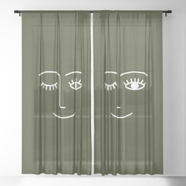 Wink (Olive) Sheer Curtain