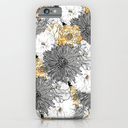 Cute Girly Yellow & Gray Floral Illustration iPhone Case